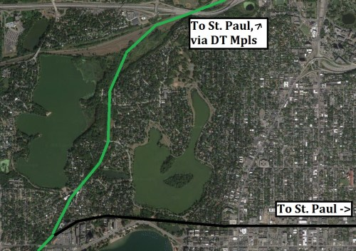 Previous Midtown route in black, current Kenilworth route in Green