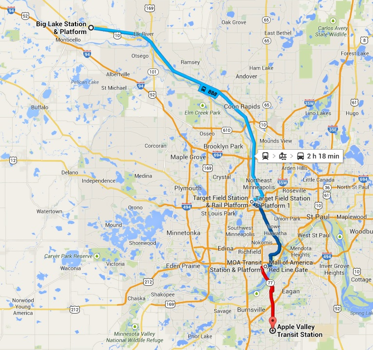 Route on Google Maps. The walking estimate was 19 hours and 50 minutes.