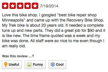 Yelp Reviews for More Than a Bicycle/Recovery Bike Shop