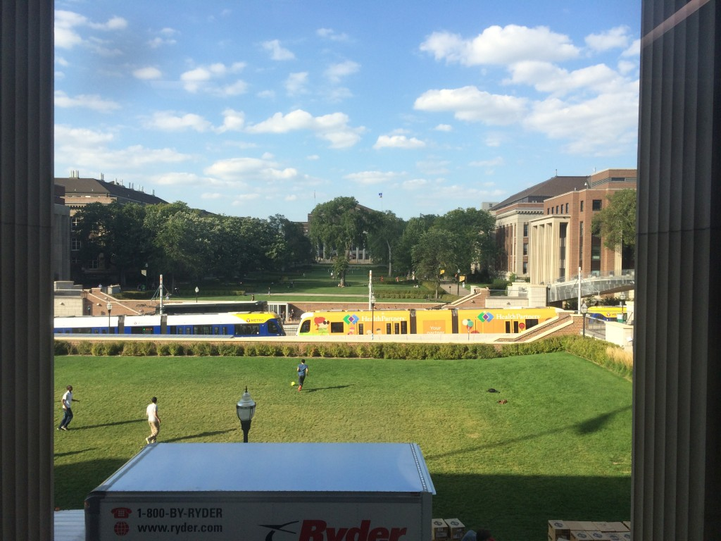 A photo taken from the second floor of Coffman Union on September 26, 2014.