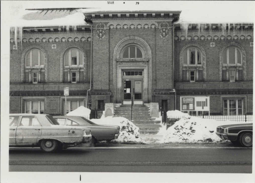 Franklin library prior to renovation to remove stairs and install an elevator for greater access for differently abled patrons, 1979