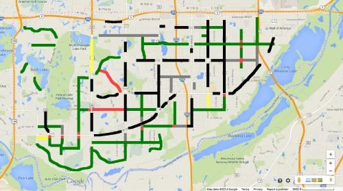 Green: 4-Lanes to 2/3 Lane, Red: Kept 4 Lanes. Black: Arterial, Grey: Not yet resurfaced, Orange: Under study