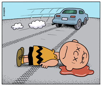 Charlie Brown Hit By Car