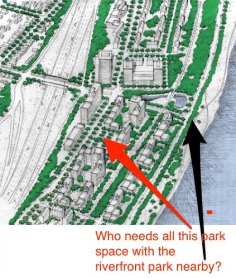 Residential development plans Above the Falls could be higher density.
