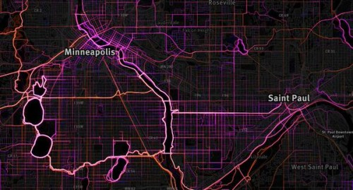 Where people run/bike in Minneapolis. via MapBox and RunKeeper