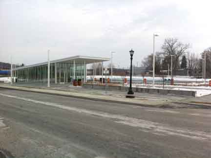 The recently opened Newport Station park-ride lot next to I-494 and Highway 61. This photo was taken on the weekend when Route 364 doesn't run, hence no cars