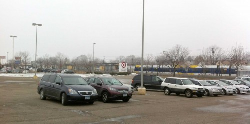 Unofficial park-riders (hide and ride) in the Target Store lot next to the Hamline Avenue Green Line Station.