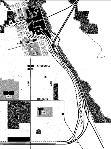 1961 Proposal for the downtown area and the connection to the MN 36 freeway.