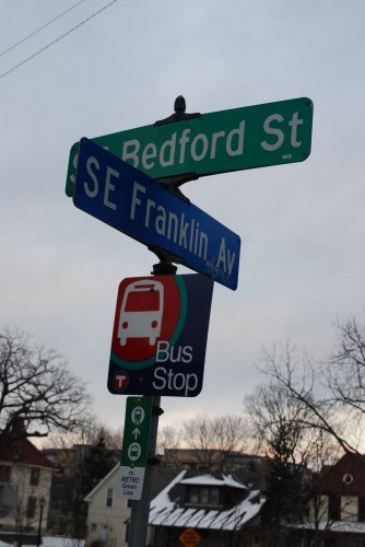 Green Line sign on Route 67. Franklin Ave at Bedford