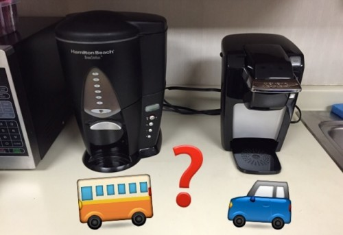Single serving coffee and vehicles or mass transit for people and caffeine