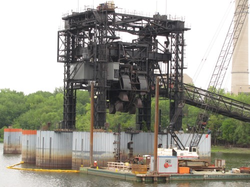 The Xcel Barge unloading terminal, probably one of the ugliest things mankind has built.