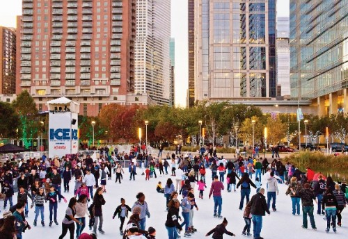 Ice skating at Discovery Green. Note corporate sponsor is XFinity. (Discovery Green Conservancy)
