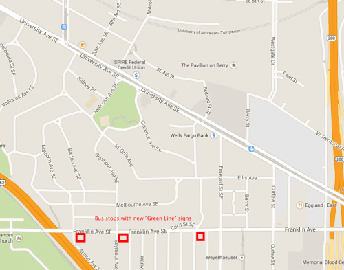Location of bus stops with new Green Line signs. 5-10 minutes walk from the Green Line.
