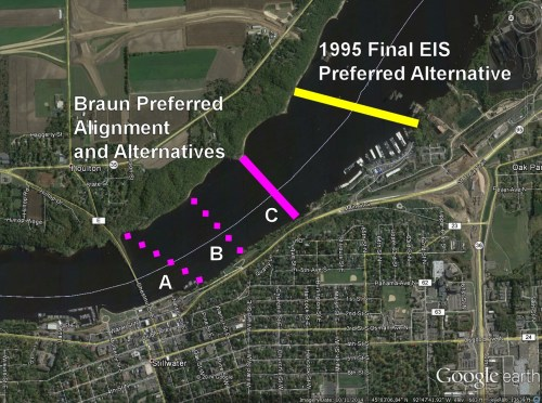 The three locations studied by Braun compared to the 1995 FEIS preferred alternative