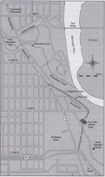 Map of camp, oaks, and 8 block stretch of old Hwy 55