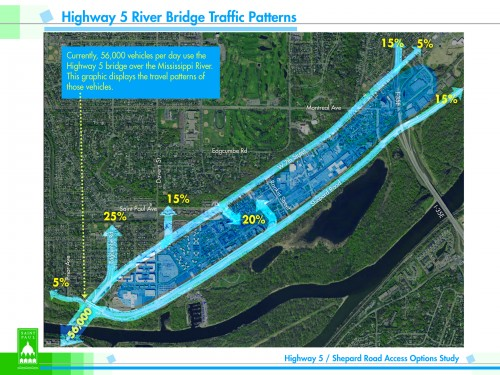 A map of southwestern St. Paul showing how traffic splits up from the bridge.