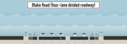 The divided four-lane option for Blake Road. This option -- the widest of those presented -- was the only one judged to have advantages for pedestrians.