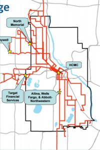 East West Minneapolis transit spine route service areas