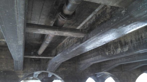 Underside of the bridge.