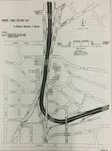 "The I-94 proposal for the Lowry Hill area from 1957.  Image from the study ""Freeways in Minneapolis""."