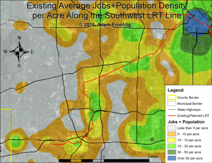 """Average jobs+population density per acre along the Southwest LRT corridor.  Map by the author, with background data from the US Census Bureau."""" width=""""500"""" height=""""386"""" class=""""size-medium wp-image-52959"""" /> Average jobs+population density per acre along the Southwest LRT corridor.  Map by the author, with background data from the US Census Bureau."""