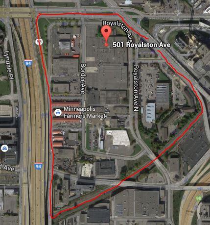Aerial photo of proposed West Loop stadium site