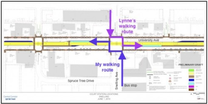 Walking routes to the Snelling station