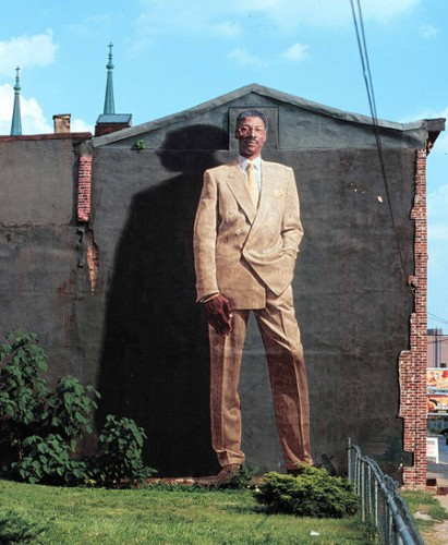 """Dr. J"", the first mural in Philadelphia to use parachute-cloth fabric-transfer. Photo by Jack Ramsdale"