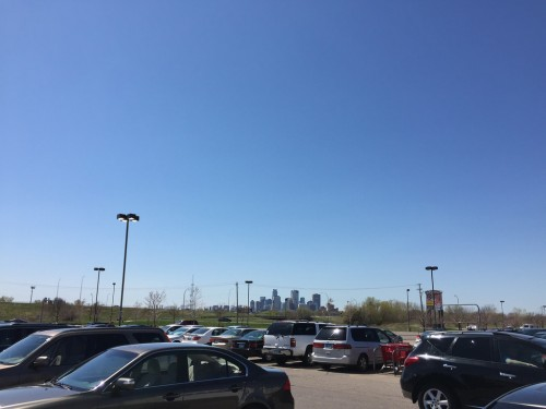 View of downtown Minneapolis from a parking lot at The Quarry