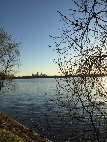 Lake Calhoun with downtown Minneapolis in background