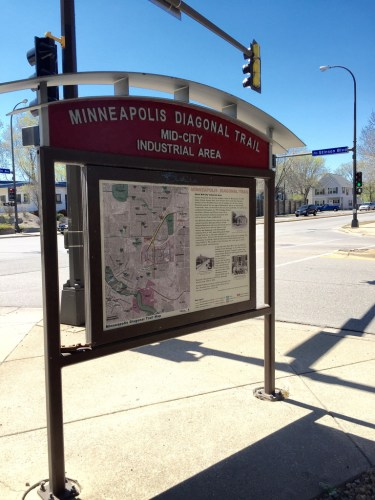 Marker for the Minneapolis Diagonal Trail in the Mid-City Industrial Area neighborhood