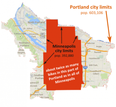 Portland is 145 square miles (Source: bikeportland.org)