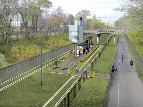Midtown Greenway with rail