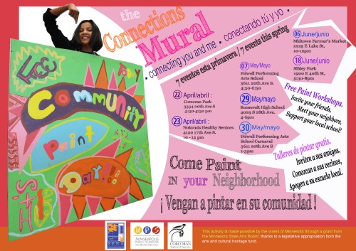 Flyers for upcoming mural painting parties in English and Spanish