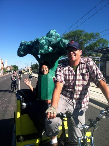 Healthy pedicab perspective (with broccoli!)
