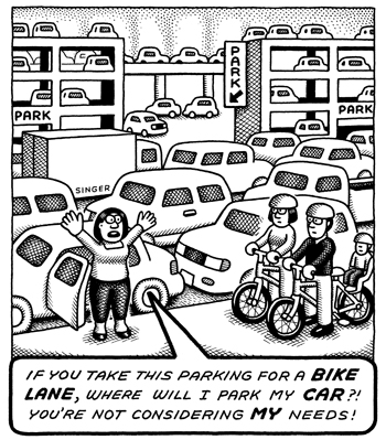 A woman surrounded by cars, roads and parking lots asks where she will park her car if bicyclists take some street parking to make a bike lane