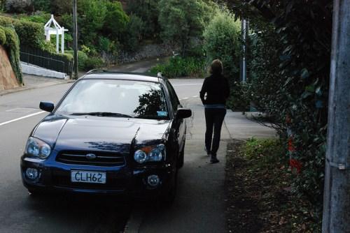 Car blocking sidewalk in Wellington, New Zealand