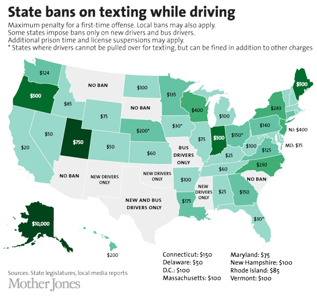 Map Monday: State Bans on Texting and Driving | streets.mn on driving map of greece, driving map of florida, driving map of india, driving map of north dakota, driving map of puerto rico, driving map of idaho, driving map of british columbia, driving map of mexico, driving map of kentucky, driving map of south america, driving map of new hampshire, driving map of nova scotia, driving map of saskatchewan, driving map of uk, driving map of quebec, driving map of ireland, driving map of south carolina, driving map of france,