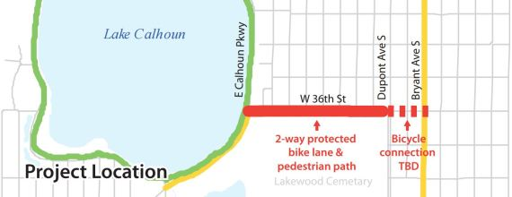 Map showing the bikeway from 36th to dupont and a bike lane connection from dupont to bryant