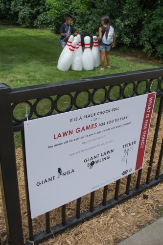 Giant bowling was just one of the lawn games available Saturday. / Credit: James Warden