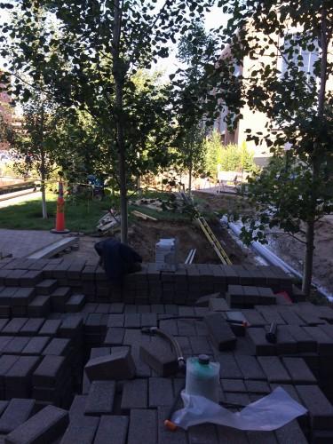 Construction work at McNamara Alumni Center (July 7, 2015)
