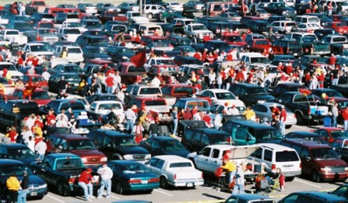 Tailgating: as American as income inequality. (Photo from drizly.com)