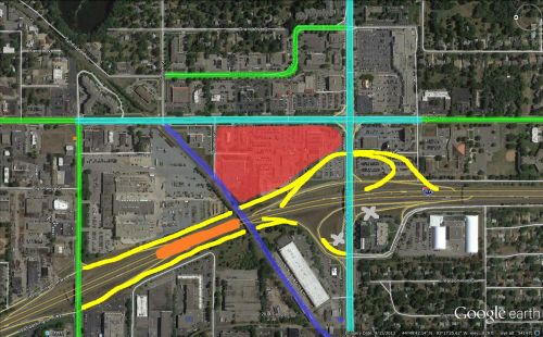Yellow: New Ramps, Blue: New bicycle trail and bridge, Orange: Orange Line Station, Aqua: roads reduced to 5 lanes (except 98th right at Lyndale) , Green: Roads reduced to three lanes