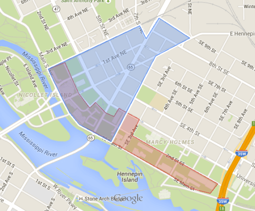 Red is St Anthony Main, Blue is nameless.