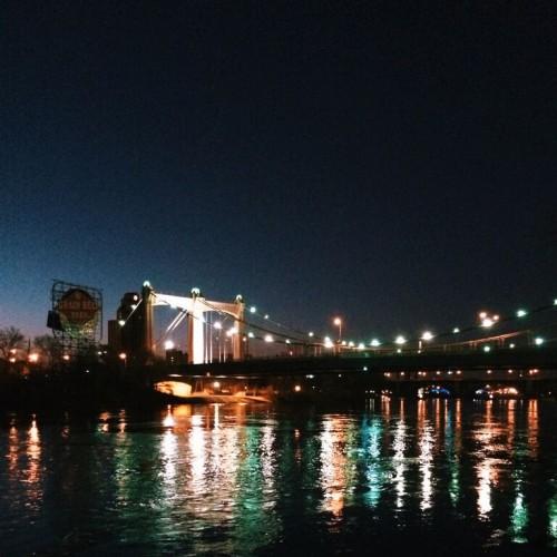 Sunrise by the Hennepin Avenue bridge.