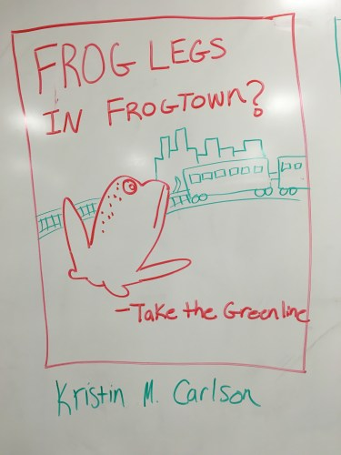 Frog legs in Frogtown? Take the Green Line. (Sad Frog) (Kristin Carlson)