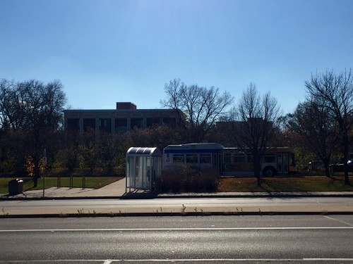 A bus waiting at the Lake Street and France Avenue bus stop