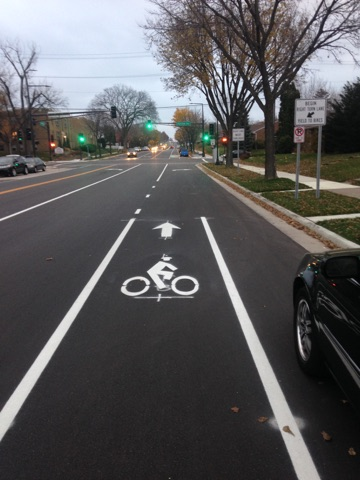 Image of bike lane becoming right turn lane