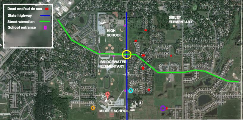 Satellite image of Northfield with school locations