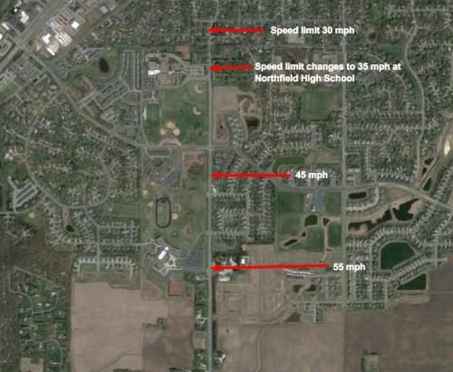 Satellite image showing Speed limits on TH 246 near Northfield schools